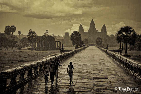 Escaping the rain at Angkor Wat